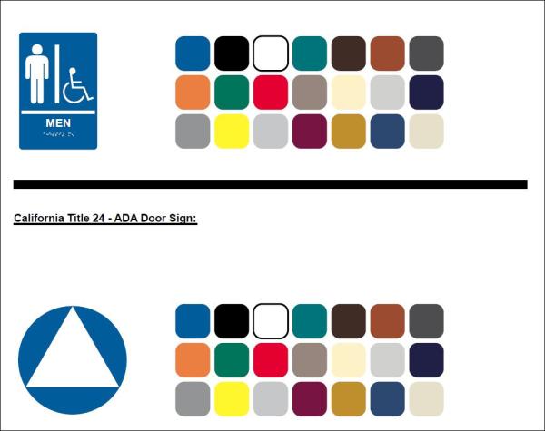 ADA Sign Material Color Chart