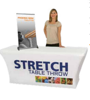 Stretch trade show table throws Los Angeles
