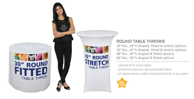 Fitted Round Trade Show Table Throws Los Angeles