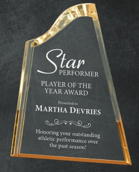 Laser Engraved Glass, Acryic or Crystal Soccer Awards Los Angeles