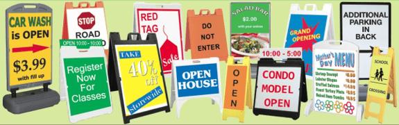 A frame and sidewalk signs Burbank CA
