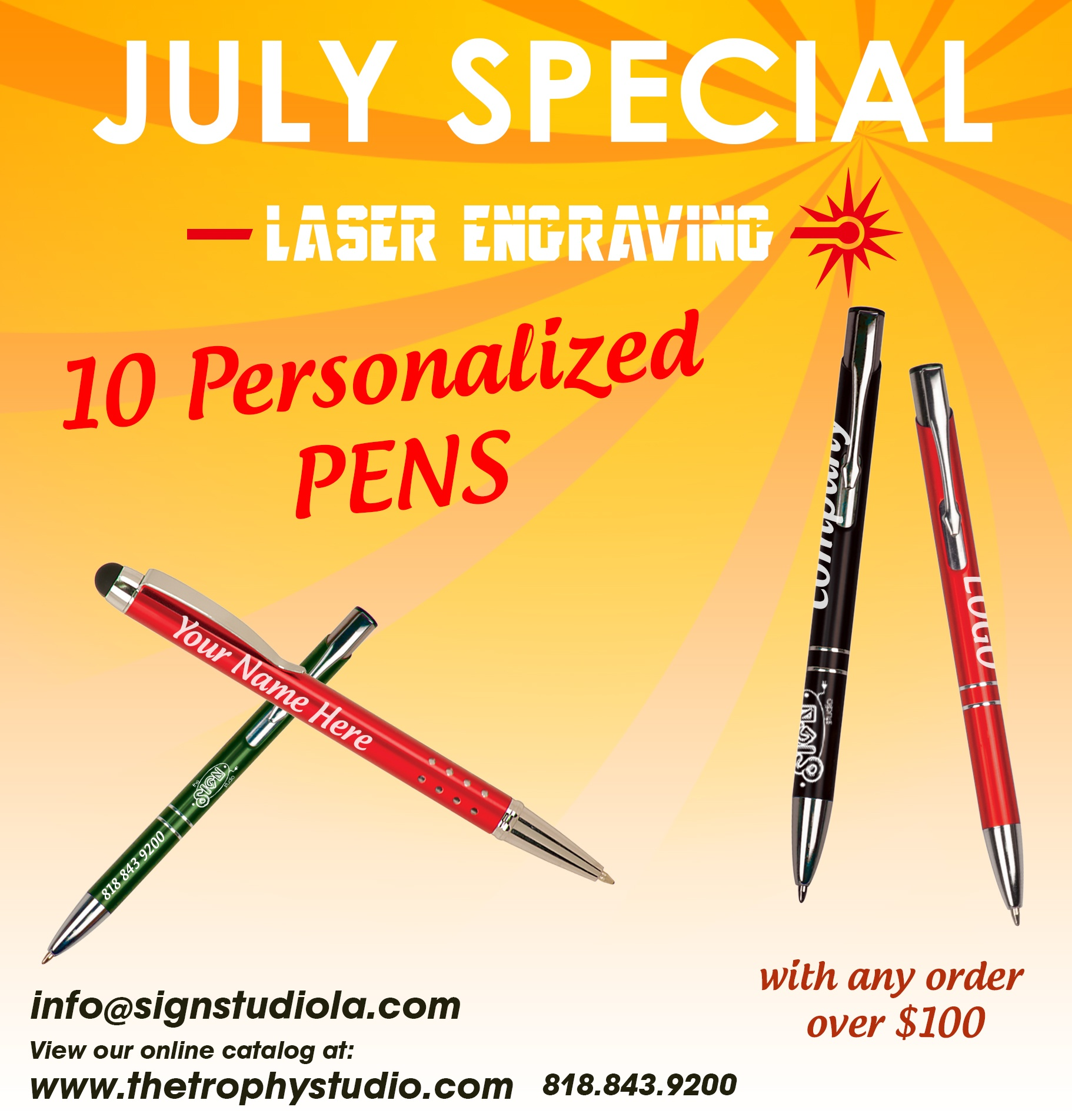 Free Laser Engraved Pens from The Trophy Studio