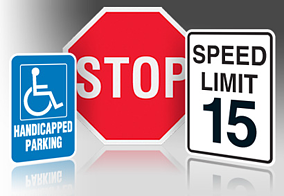 Regulatory Stop, Speed Limit and Parking Lot Signs